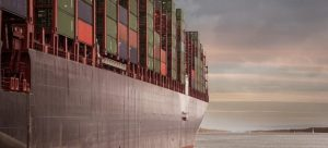 A ship with containers.