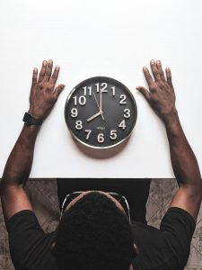 clock.A person and a v