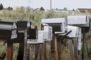 A row of mailboxes symbolizing change of address