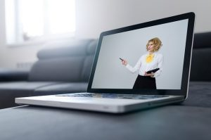 Laptop screen of a woman.